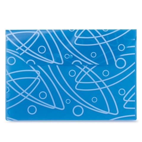 """Папка-конверт с кнопкой и рисунком БЮРОКРАТ """"Galaxy"""" (""""Галактика""""), А4, синяя, 0,18 мм"""