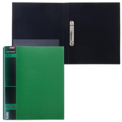 Папка на 2 кольцах HATBER, 25 мм, «WOOD-зелёная», до 120 листов, 0,9 мм