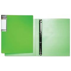 Папка на 4 кольцах HATBER HD, 25 мм, «Неоново-зеленая», до 120 листов, 0,9 мм, 4AB4 02034