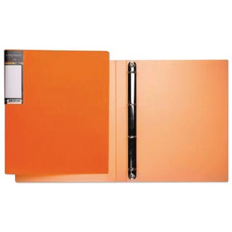 Папка на 4 кольцах HATBER HD, 25 мм, «Неоново-оранжевая», до 120 листов, 0,9 мм