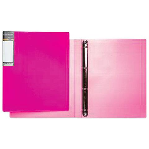 Папка на 4 кольцах HATBER HD, 25 мм, «Неоново-розовая», до 120 листов, 0,9 мм