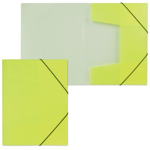 Папка на резинках HATBER HD, А4, «Неоново-желтая», до 300 листов, 0,7 мм