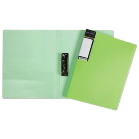 Папка с боковым металлическим прижимом и внутренним карманом HATBER HD, «Неоново-зеленая», 100 л., 0,9 мм
