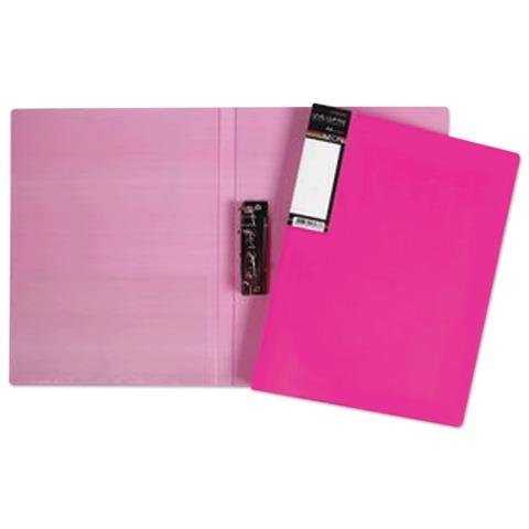 Папка с боковым металлическим прижимом и внутренним карманом HATBER HD, «Неоново-розовая», 100 л., 0,9 мм
