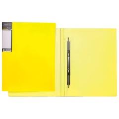 Папка с металлическим пружинным скоросшивателем HATBER HD, пластик, «Неоново-желтая», до 100 л., 0,9 мм, AH4 02036