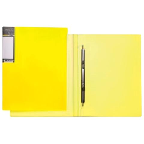 Папка с металлическим пружинным скоросшивателем HATBER HD, пластик, «Неоново-желтая», до 100 л., 0,9 мм