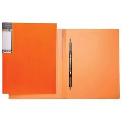 Папка с металлическим пружинным скоросшивателем HATBER HD, пластик, «Неоново-оранжевая», до 100 л.,0,9 мм, AH4 02035