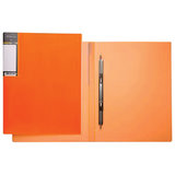 Папка с металлическим пружинным скоросшивателем HATBER HD, пластик, «Неоново-оранжевая», до 100 л.,0,9 мм