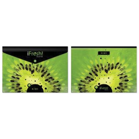 "Папка-конверт с кнопкой и рисунком HATBER HD, А4, ""iFRESH-киви"", до 100 л., AKk4 10623"