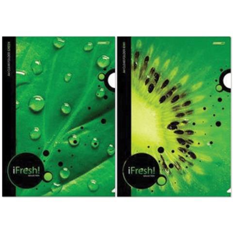 Папка-уголок с рисунком HATBER HD, А4, «iFRESH-green», ассорти, 0,18 мм