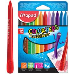 Мелки пластиковые MAPED (Франция) «Color'peps Plasticlean», 12 цветов, двухсторонние, картонная упаковка, подвес