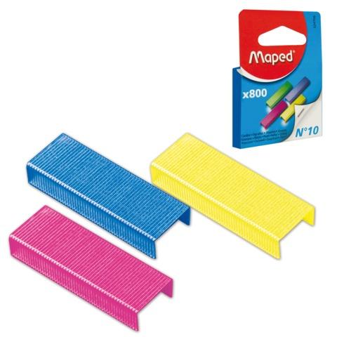 Скобы для степлера MAPED (Франция), №10, 800 штук, цветные