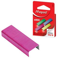 Скобы для степлера MAPED (Франция), №26/<wbr/>6, 800 штук, цветные