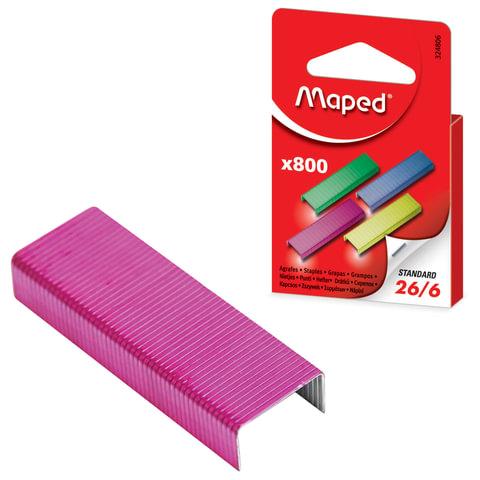 Скобы для степлера MAPED (Франция), №26/6, 800 штук, цветные