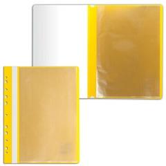 Папка 10 вкладышей STAFF с перфорацией, мягкая, желтая, 0,16 мм