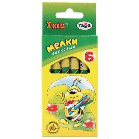 Восковые мелки ГАММА «Пчелка», 6 цветов