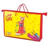 Папка-сумка на молнии с веревочными ручками, А4, пластик, для девочек, котенок