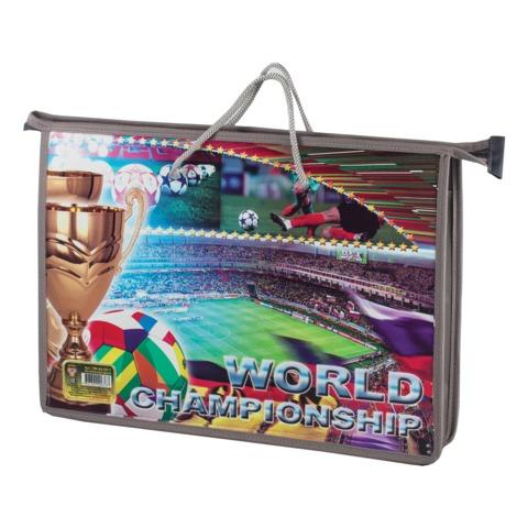 Папка-сумка на молнии с веревочными ручками, А4, пластик, для мальчиков, футбольное поле