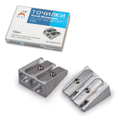 Точилка BEIFA (Бэйфа) «A Plus», металлическая клиновидная, 2 отверстия, в картонной коробке
