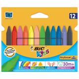 Восковые мелки BIC «Plastidecor» (Франция), 12 цв., трехгранные, яркие цвета, картонная упаковка c европодвесом