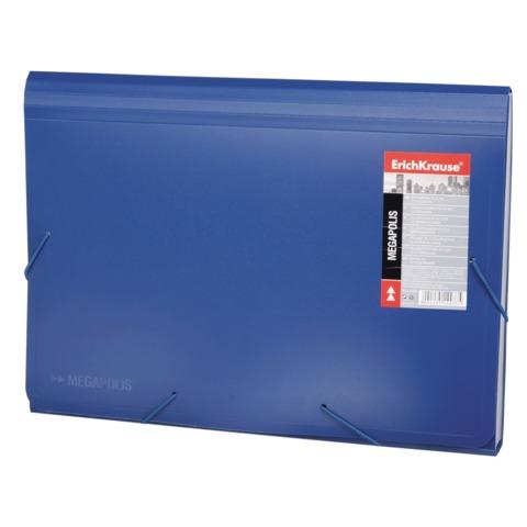 Папка на резинках ERICH KRAUSE «Megapolis», А4, 13 отделений, пластиковый индекс, синяя, 0,7 мм