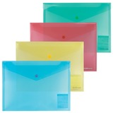 Папка-конверт с кнопкой, прозрачная, ERICH KRAUSE «Envelope Folder», B5, цвет ассорти, 0,14 мм