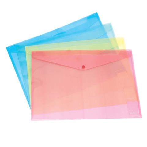 "Папка-конверт с кнопкой, прозрачная, ERICH KRAUSE ""Envelope Folder"", А4, цвет ассорти, 0,14 мм"