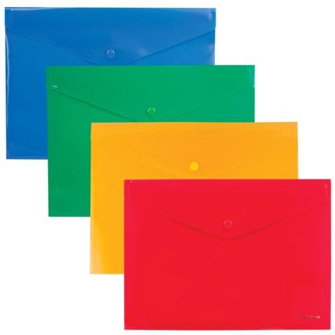 Папка-конверт с кнопкой, непрозрачная, ERICH KRAUSE «Envelope Folder», B5, диагональ, 4 цвета ассорти, 0,18 мм