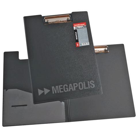 """Папка-планшет ERICH KRAUSE """"Megapolis"""", А4, с верхним прижимом и крышкой А4, пластик серый, 1,3 мм"""