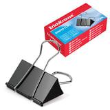 Зажимы для бумаг ERICH KRAUSE, комплект 12 шт., 32 мм, на 140 л., черные, в картонной коробке