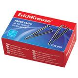 Скрепки ERICH KRAUSE, 32 мм, металлические, треугольные, 100 шт., в картонной коробке