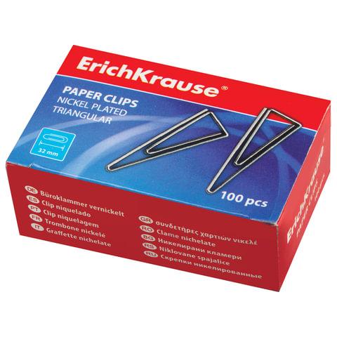 Скрепки ERICH KRAUSE, 32 мм, металлические, треугольные, 100 штук, в картонной коробке