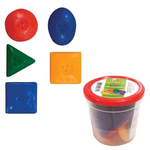 Восковые мелки ЛУЧ «Кроха», геометрические фигуры 24 шт. (6 цветов х 4), в пластиковом стакане