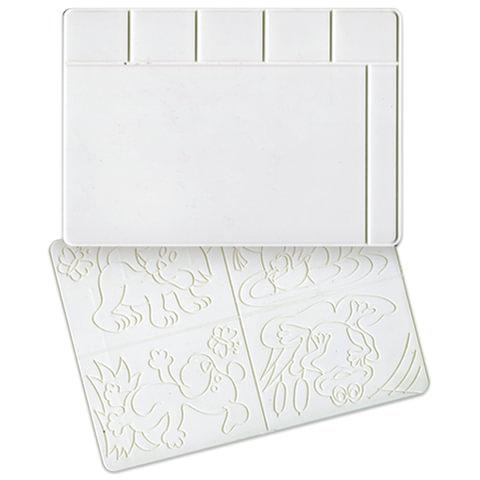 Доска для работы с пластилином А4, 297х210 мм, ЛУЧ, белая, с рельефными трафаретами