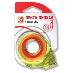 Клейкая лента 12 мм х 20 м канцелярская ЛУЧ прозрачная, в диспенсере, европодвес