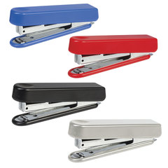 Степлер KW-trio N10, до 12 листов, эргономичный, ассорти (черный, красный, синий, светло-серый)