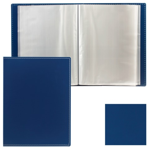 Папка 80 вкладышей BRAUBERG «Contract» (БРАУБЕРГ «Контракт»), синяя, 0,9 мм, в пластиковой коробе, бизнес-класс