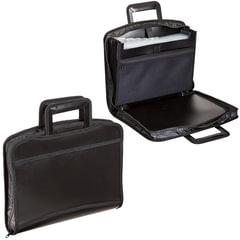 Портфель-папка пластиковый BRAUBERG А4+, 355×290×60 мм, на молнии, выдвижные ручки, 8 отделений, 2 кармана, черный