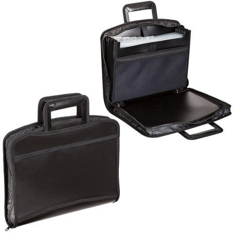 Портфель-папка пластиковый BRAUBERG А4+, 355х290х60 мм, на молнии, выдвижные ручки, 8 отделений, 2 кармана, черный