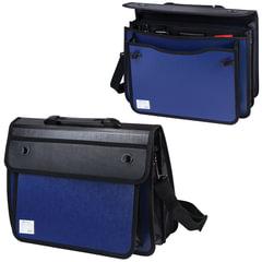 Портфель пластиковый BRAUBERG, А4+, 370×270×180 мм, на 2-х замках и ремне, бизнес-класс, 3 отделения, синий/<wbr/>черный