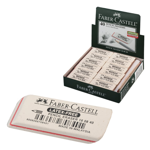 Резинка стирательная FABER-CASTELL «7008», для графитных карандашей, каучук, 50×19×8мм, белая