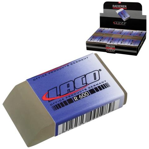 Резинка стирательная LACO (Германия), прямоугольная, 48x24x12 мм, белая, картонный дисплей