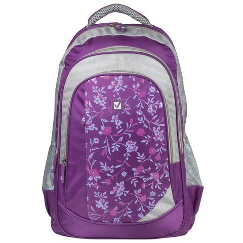 Рюкзак BRAUBERG (БРАУБЕРГ) для старшеклассников/<wbr/>студентов/<wbr/>молодежи, «Цветочный узор», 25 литров, 30×18×49 см