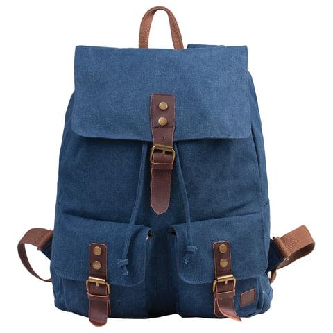 """Рюкзак BRAUBERG для старшеклассников/студентов/молодежи, холщовый, """"Синий"""", 20 литров, 38х13х43 см"""