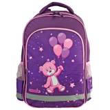 Рюкзак ПИФАГОР для учениц начальной школы, 20 л, розово-фиолетовый, «Медвежонок на шарике», 38×28×14 см