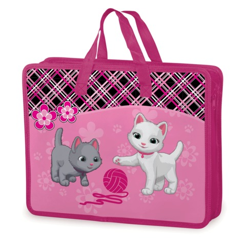 Папка-сумка BRAUBERG (БРАУБЕРГ), А4, на молнии с ручками, пластик, цветная печать, для девочек, котята, 33×26 см