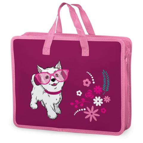 Папка-сумка BRAUBERG (БРАУБЕРГ), А4, на молнии с ручками, пластик, цветная печать, для девочек, щенок,33×26 см