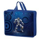 Папка-сумка BRAUBERG (БРАУБЕРГ), А4, на молнии с ручками, пластик, цветная печать, для мальчиков, робот, 33×26 см
