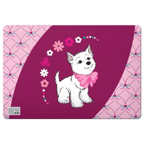 Коврик-подкладка для письма и занятий творчеством BRAUBERG (БРАУБЕРГ), настольный, 43×29 см, пластик, цветная печать, «Щенок»