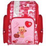 Ранец жесткокаркасный BRAUBERG (БРАУБЕРГ) для учениц начальной школы, 18 л, розово-красный, «Мишка», 36×26×14 см